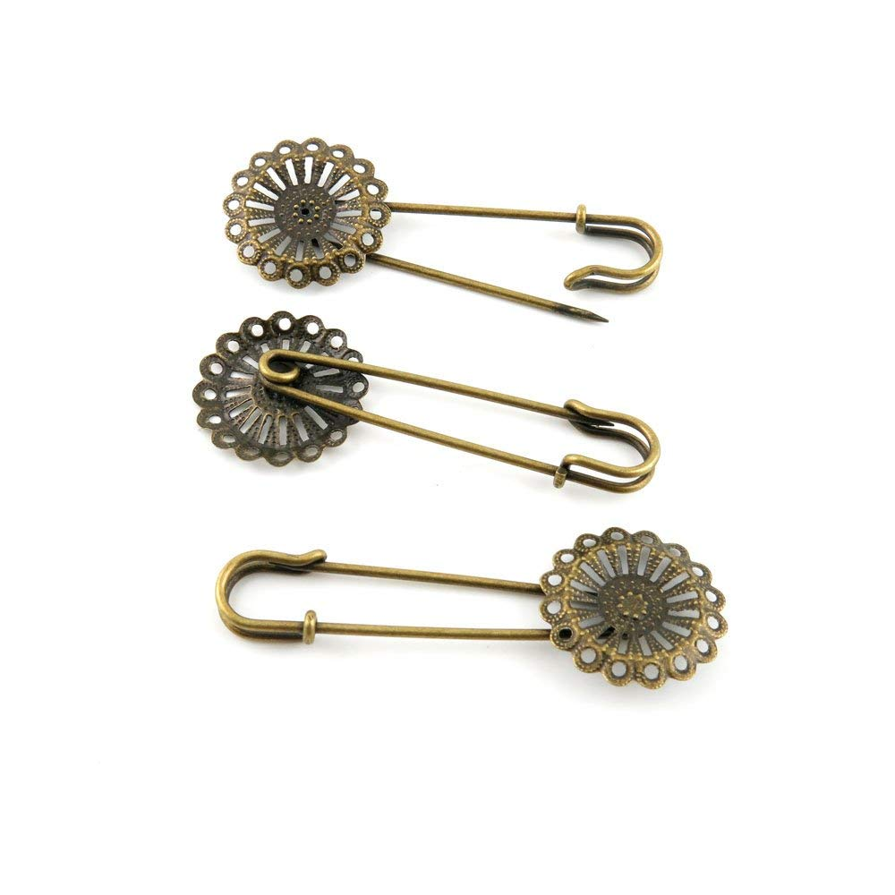 Price per 120 Pieces Jewelry Making Supply Charms Findings Filigrees R6TE4S Flower Safety Pins Brooch Antique Bronze Findings Beading Craft Supplies Bulk Lots