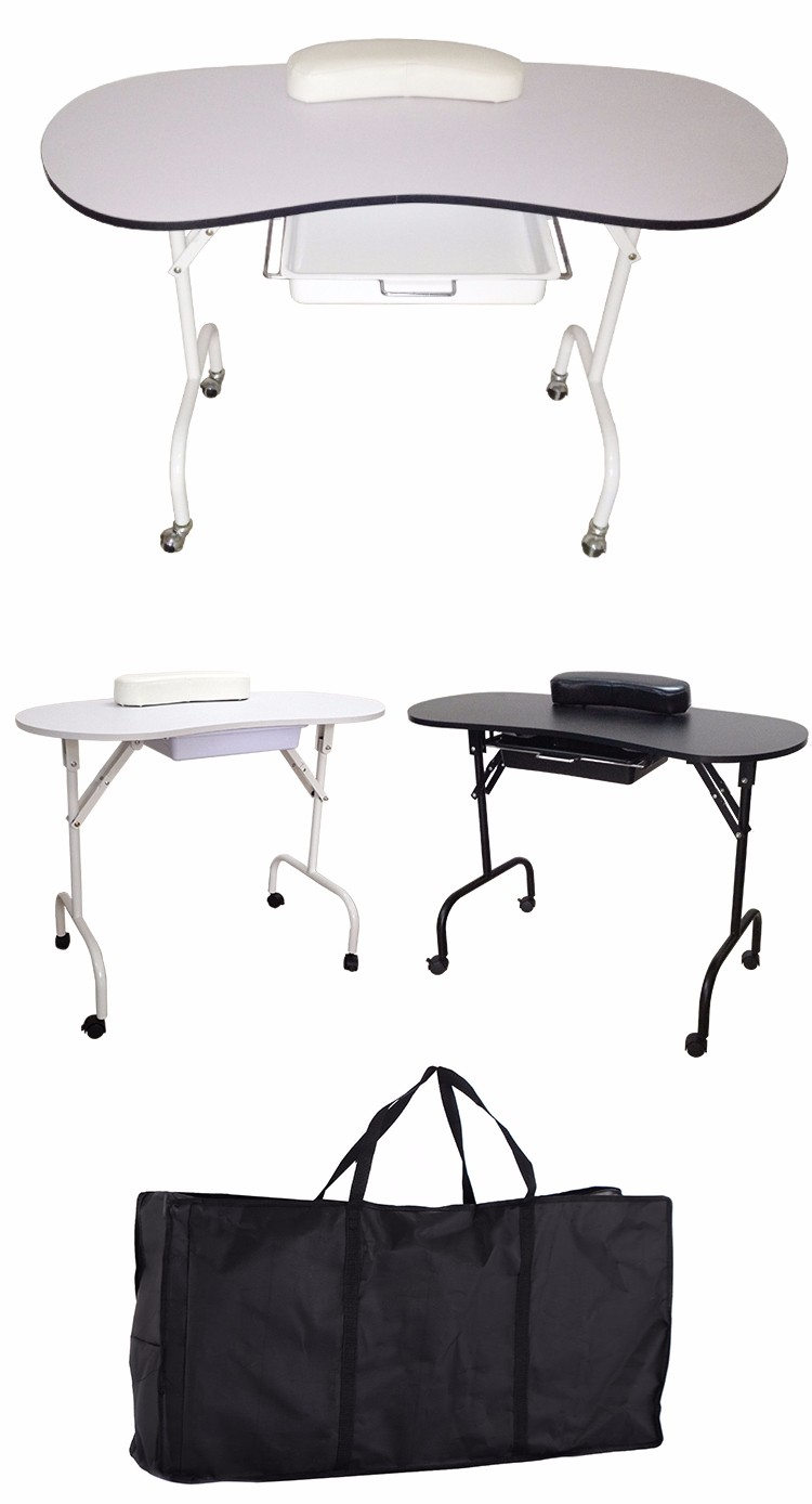 Foldable beauty nail table zhenyao mt 001 manicure table for Folding nail table