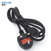 High quality custom ac 3pin uk power plug cable , three-pin electric plug uk bs power cord