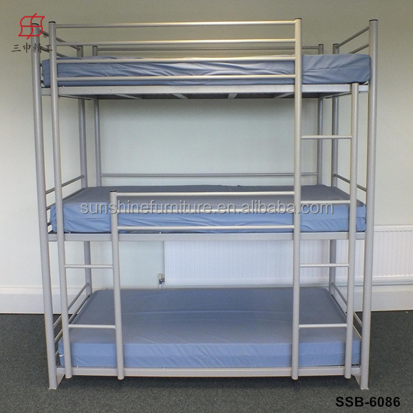 2015 Hot Sale High Weight Capacity Metal Triple Bunk Bed With Stairs
