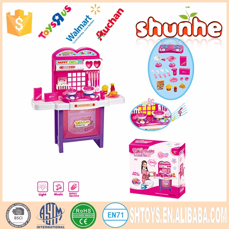 China wholesale plastic play kitchen fake food toys set for Fake kitchen set