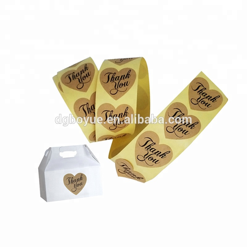 Roll Custom Thank You Stickers Adhesive Heart Shape Paper <strong>Labels</strong>