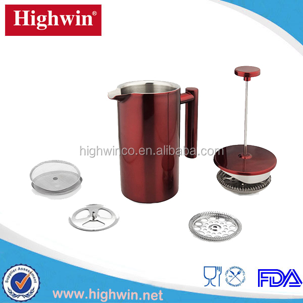 Commercial high quality red highly polished coffee press insulated