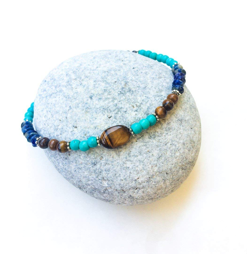 Natural gemstones ethnic anklet, Turquoise Lapis & Tiger eye anklet, blue and brown anklet, Beaded ankle chain, Boho, beach, healing crystal