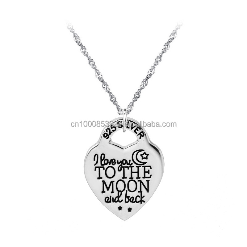 i love you to the moon and back 925 silver engraved heart pendant necklace