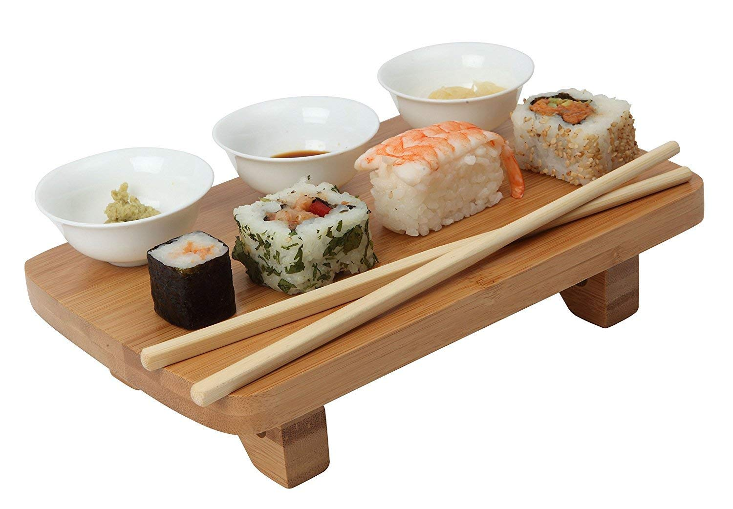 Dexam Bamboo Sushi Serving Kit Set, including Bowls, Table & Chopsticks