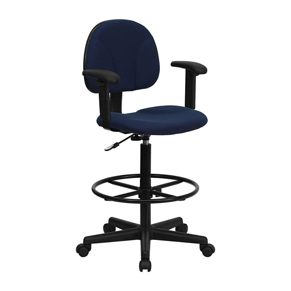 Offex Navy Blue Patterned Fabric Ergonomic Drafting Stool with Arms (Adjustable Range 26''-30.5''H or 22.5''-27''H)