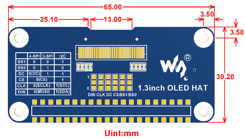 1.3inch-OLED-HAT-size