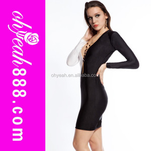 Newest style can offer customize women black dress with white collar