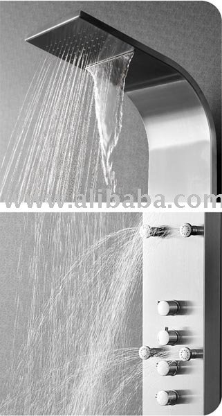 XXL Shower Panel Stainless Steel with waterfall + rain head