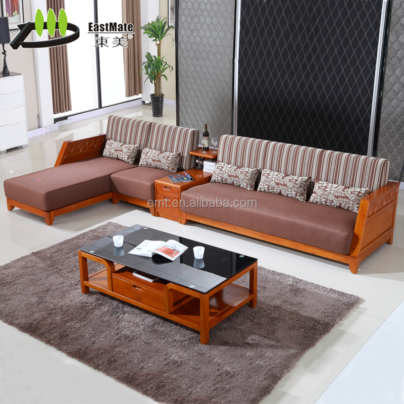 Solid rubber wood china modern design living room sofa set for Living room set design