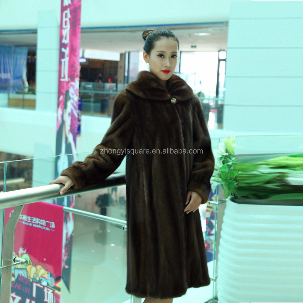 Y15A001 NATURAL WHITE MINK FUR COAT SILVER FOX FUR COLLAR
