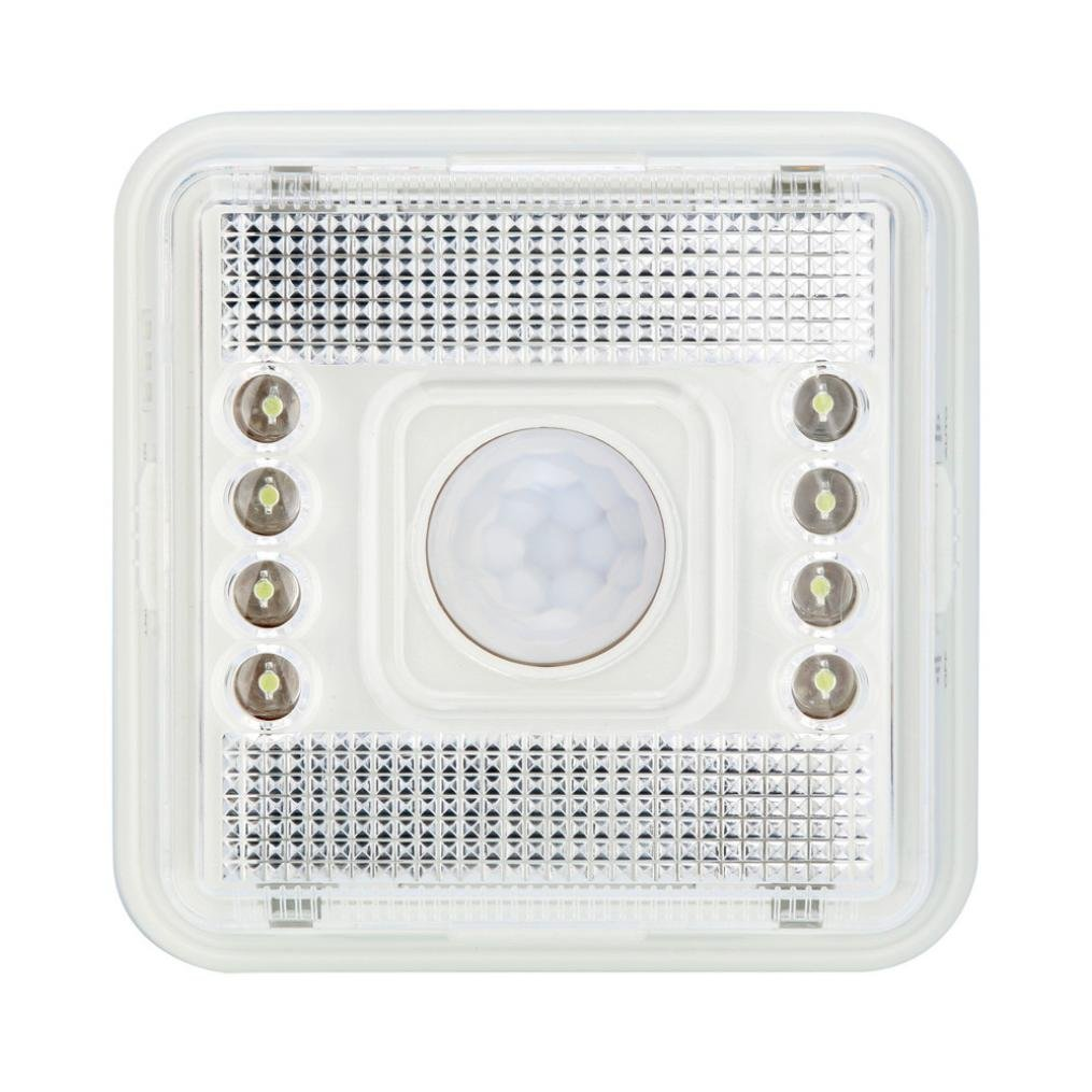Highpot 8 LED Light Home Outdoor Lamp PIR Auto Sensor Motion Detector Wireless Infrared For Patio, Deck, Yard, Garden with Motion Activated Auto On/Off (White)