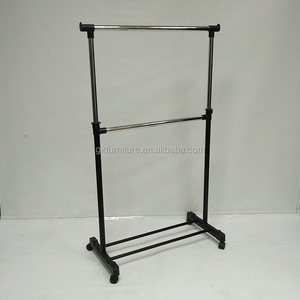Single Pole Iron Pipe Adjustable Height Garment Rack Clothes Drying Coat Rack Manufacturer Supplier