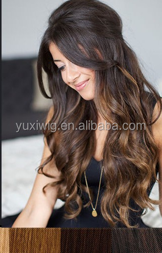 2016 Super amazing full lace wig with silk top natural looking wave ombre color brown wig