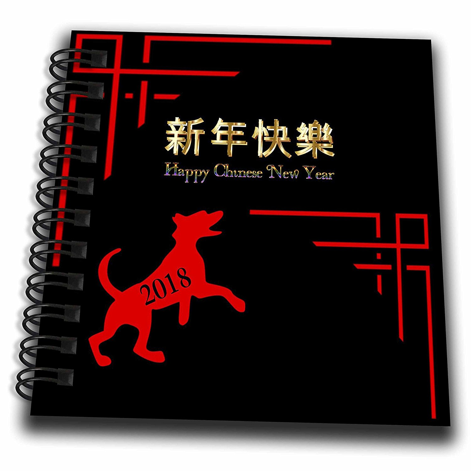 3dRose Chinese New Year - Image of Chinese Writing With Red Dog and Asian Scrolly 2018 - Mini Notepad 4 x 4 inch (db_262601_3)