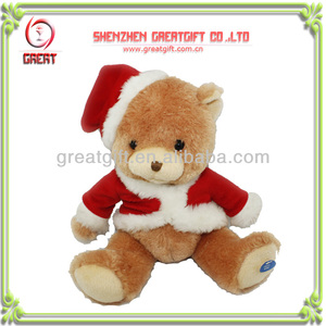 Plush toy musical Christmas teddy bear stuffed toy for Christmas gift