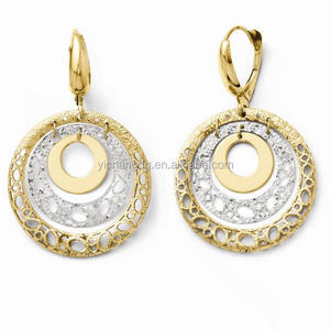 316L Stainless Steel 14k Two Tone Double Hinged Hoop Earrings, New 2016 Latest Gold Earring Designs