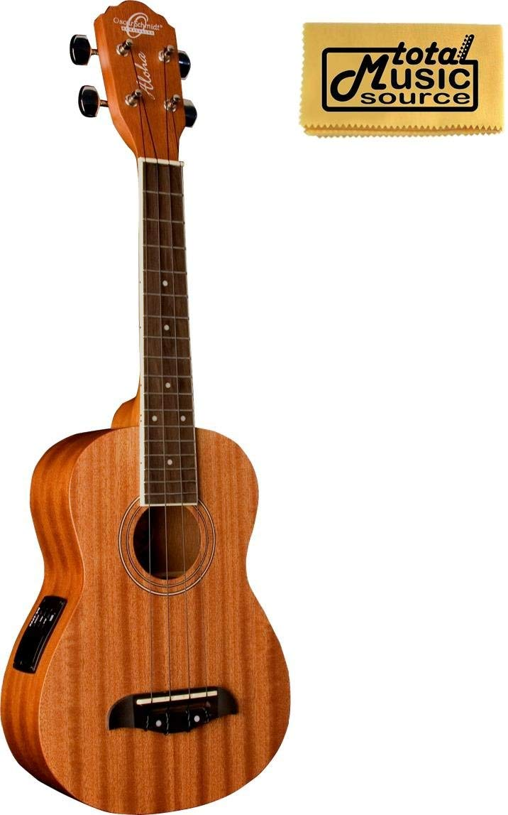 Oscar Schmidt Concert Active EQ, Acoustic Electric Ukulele, OU2E w/ TMS Polishing Cloth