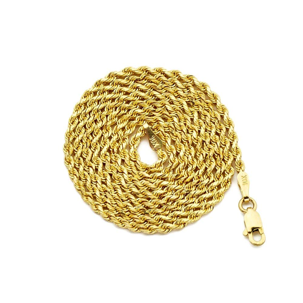 85048c4d2be Get Quotations · LOVEBLING 10K Yellow Gold 2mm Diamond Cut Rope Chain  Necklace with Lobster Lock