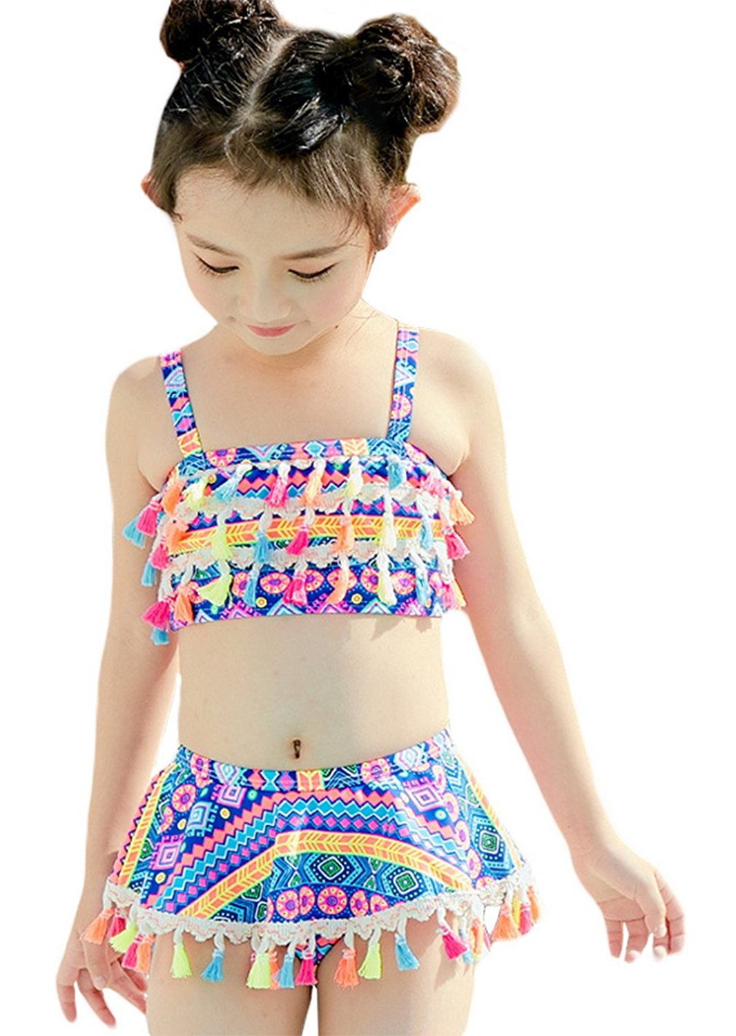 42a9e57a6a438 Get Quotations · La Vogue Kids Girls 2 Piece Tankini Swimwear Tassels Bathing  Suits Tops with Shorts