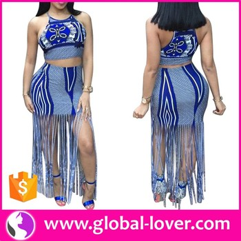 Wholesale two pieces set crop tops and skirts women dresses bangladesh