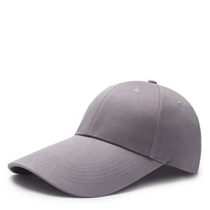 899b06b9 Customised curved brim cotton cuba gray plain blank 6-panel long bill baseball  cap
