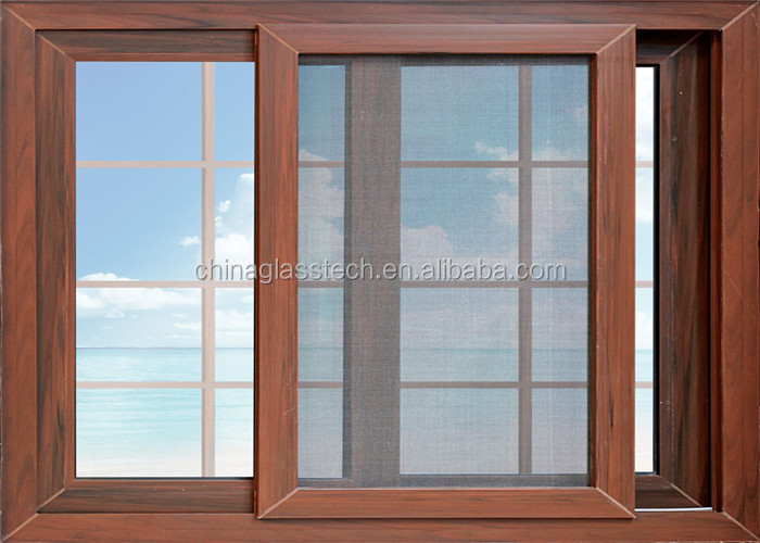 Aluminum Window Construction : Wood grain surface new design construction casement