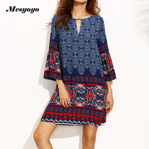 Ecommerce products fast fashion woman clothing Cut-out V-neck front and back, A line printed rayon casual dresses SY180903