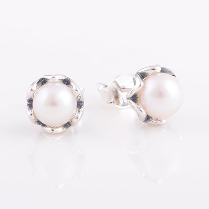 Pandora Silver Stud Earrings: Earrings-Compatible-With-Pandora-Style-White-Pearl-Silver