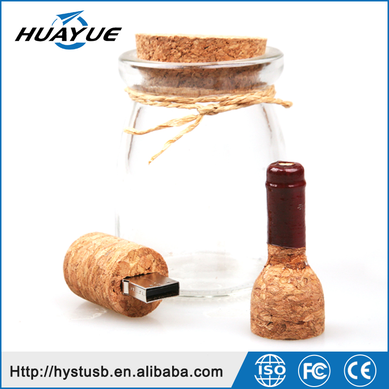 USB 2.0/3.0 Red Wine Bottle 16GB 32GB 64GB Wooden Flash Memory for Gift