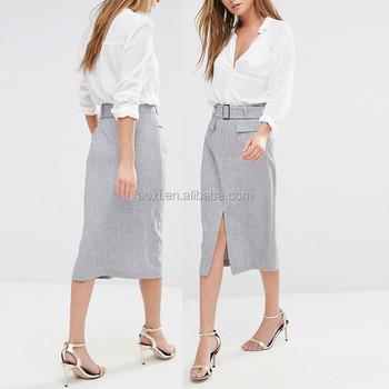 b52aa28887 Ropa de mujer cinturón de lápiz diseño split frontal Falda larga de mujeres  modelos