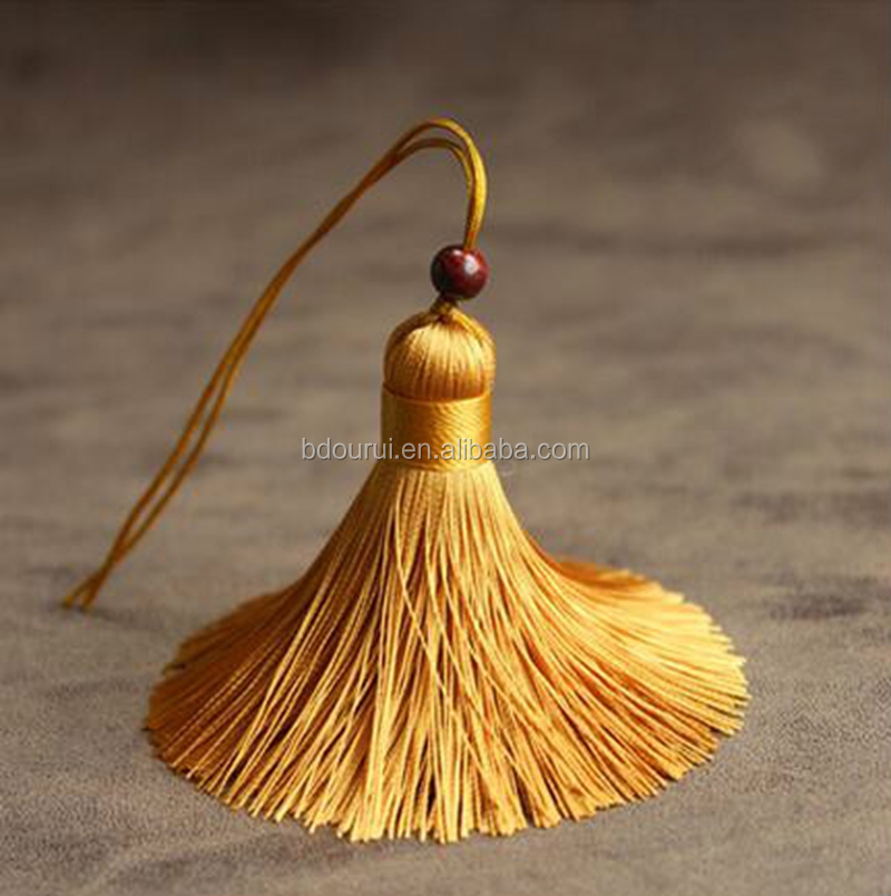 ourui promotion high quality silk tassels 6cm with beads ,silk tassels for jewelry