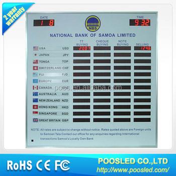 Currency Exchange Rate Board Display Led Bank Digital Sign