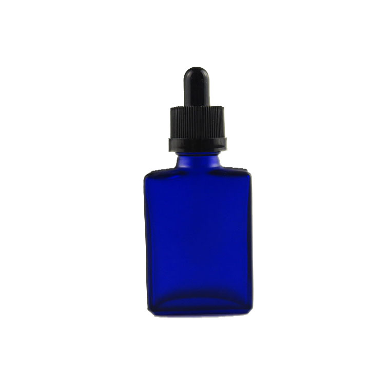 wholesale 30ml frosted blue rectangular glass dropper botles for liquid