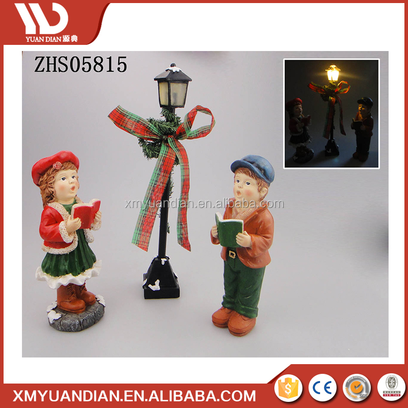 Polyresin Ornaments Resin Craft Outdoor Christmas Street Light Decoration For Garden Yard