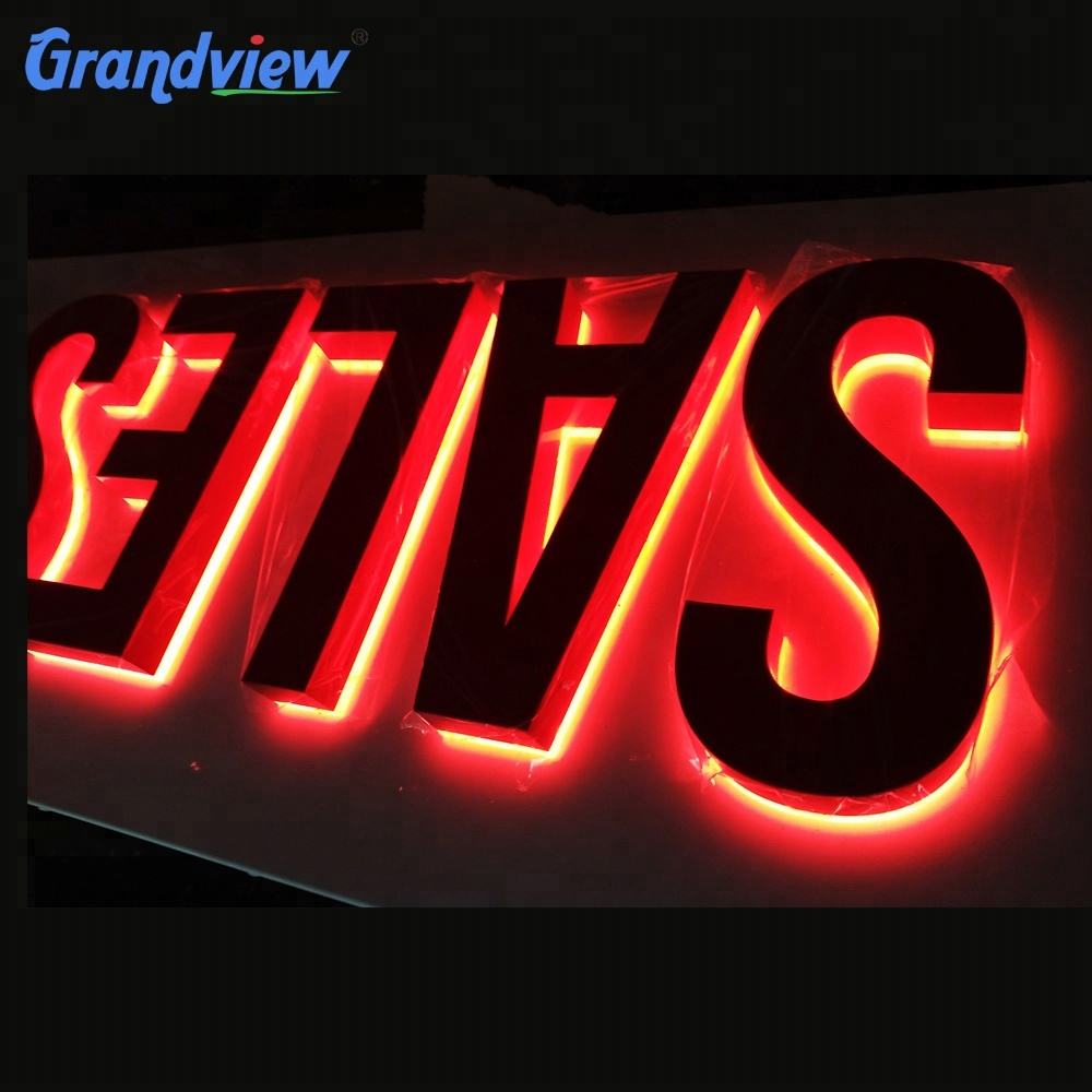 China LED backlit metal face stainless steel logo sign
