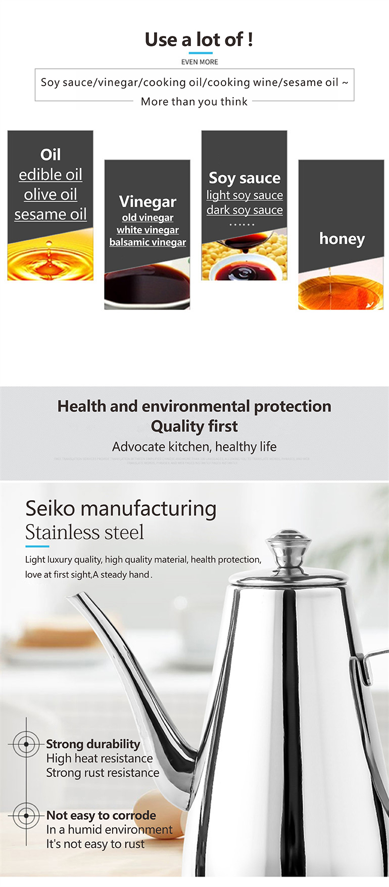 Multi Size Kitchen Ware Stainless Steel Olive Oil Bottles Seasoning Oil Container