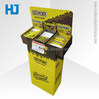 Custom design cardboard shelf display for snacks, high quality corrugated paper floor stand for tradeshow & advertising