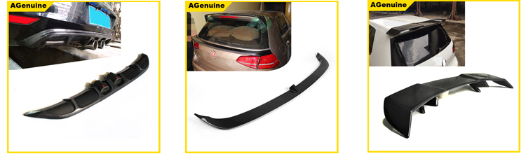 AGenuine style 4 pipes real carbon fiber rear boot lip rear bumper diffuser for Volkswagen VW Golf 7