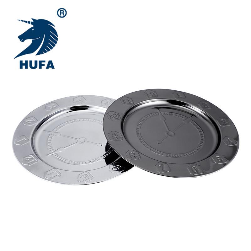 30 centímetros chapa de aço inoxidável reutilizável carregador placa de metal para o restaurante por atacado prato de servir em estoque