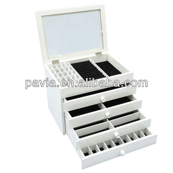 Big White Wooden Jewelry Box With High Gloss Finish Buy Big Wooden
