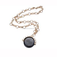 Fashion Jewelry Long Chain with Black Gemstone Pendant 18k Gold Necklace For Men