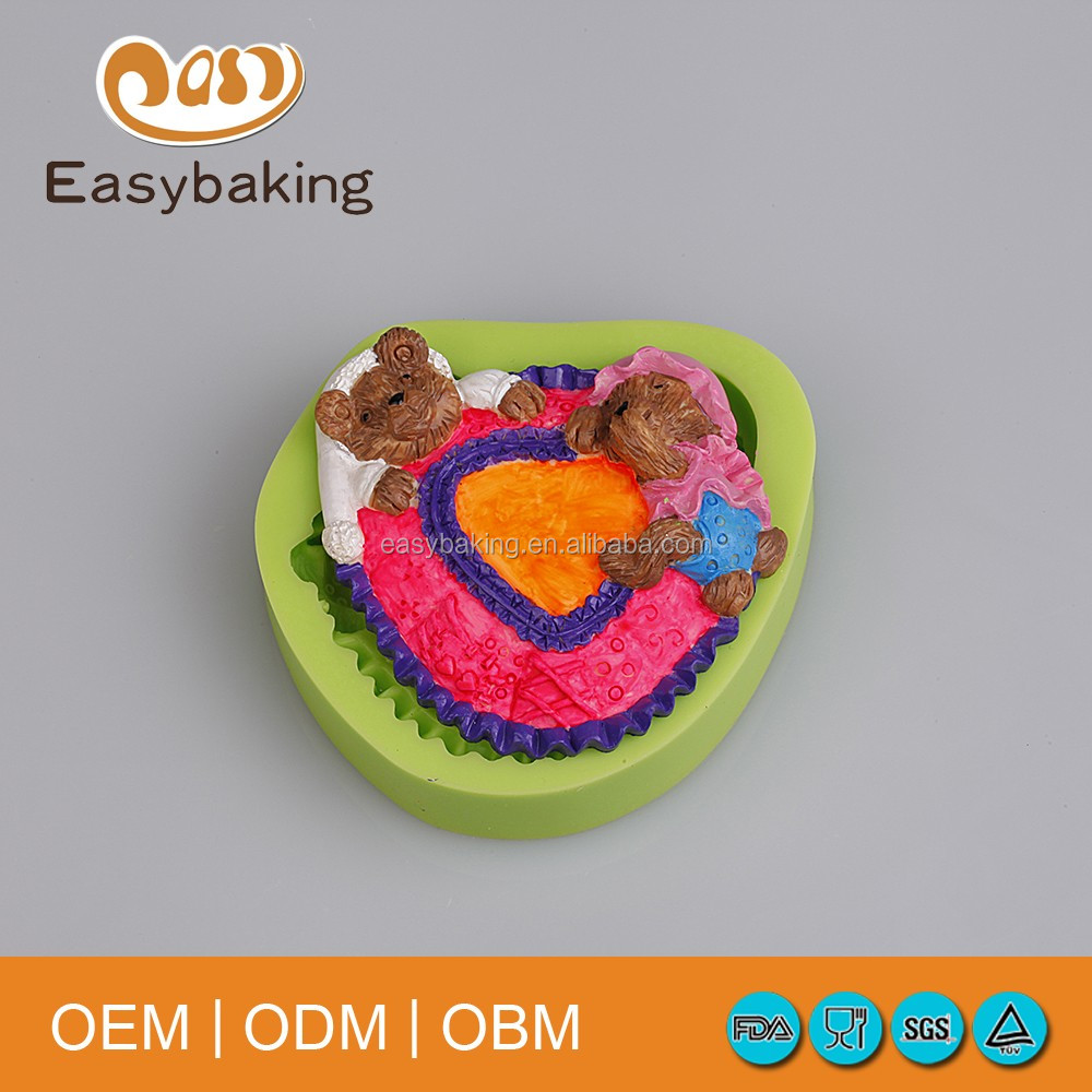 Cartoon Mother & Baby Bear Muffin Pastry Cake Decorate Easy Push Silicone Molds