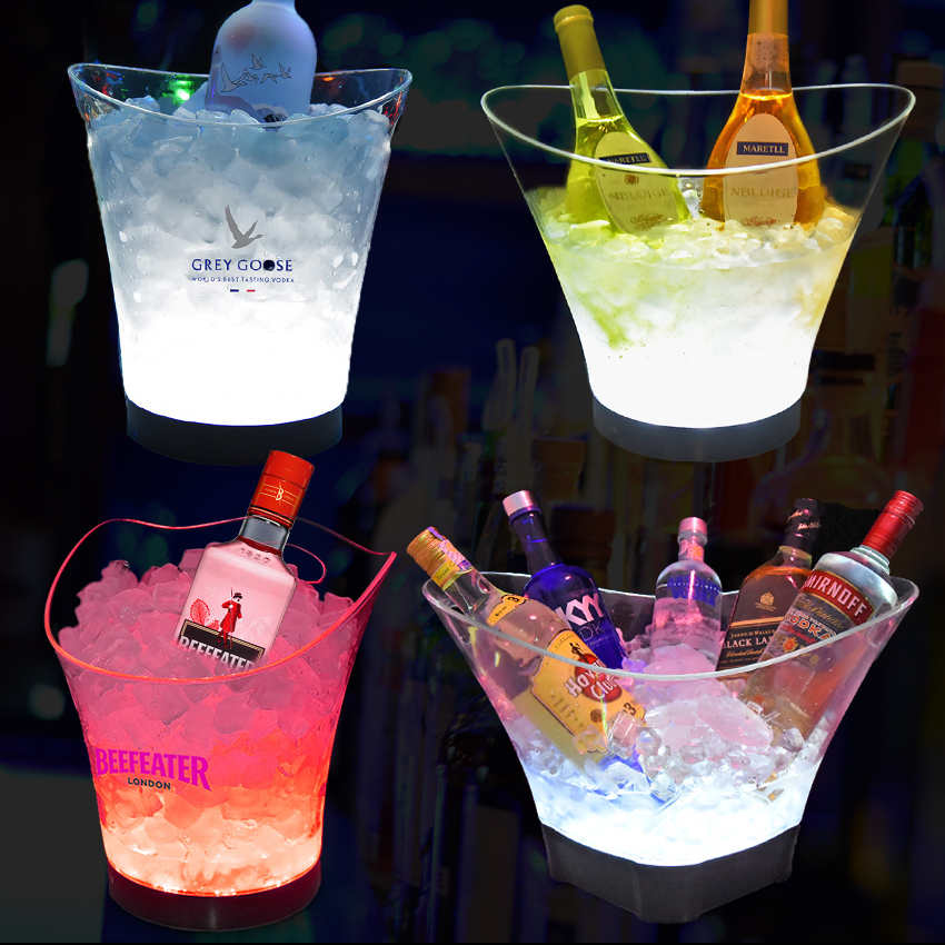 2019 new product clear acrylic plastic beer wine champagne led ice bucket for nightclub party