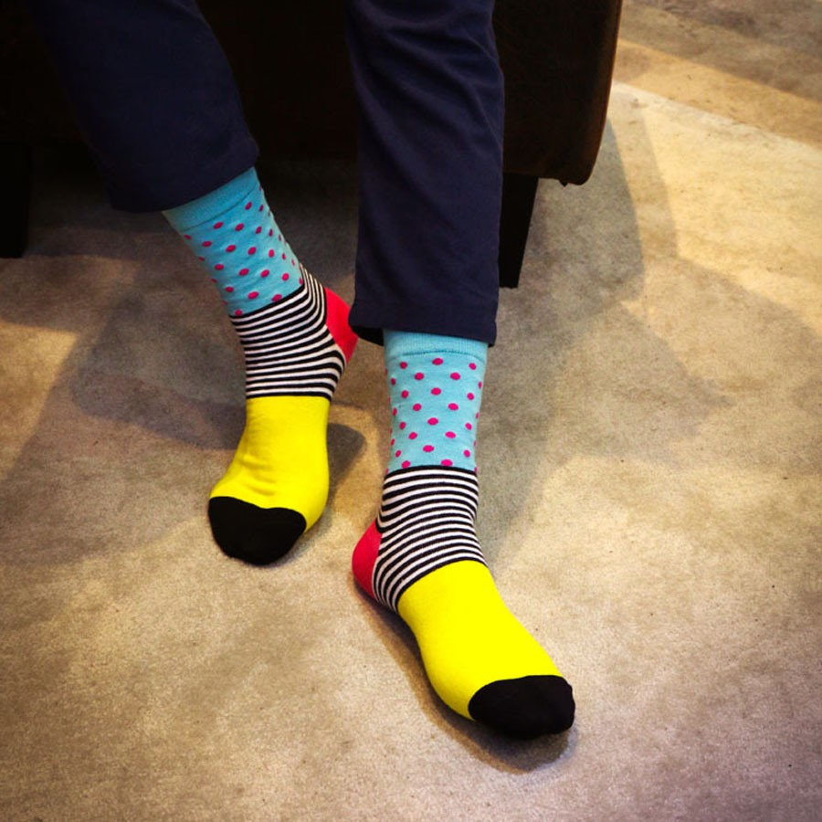 e5df7f5b3 Casual Mens Cotton Colorful leisure Socks Harajuku Gradient Color Business  Dress Socks Diamond Plaid Long Socks