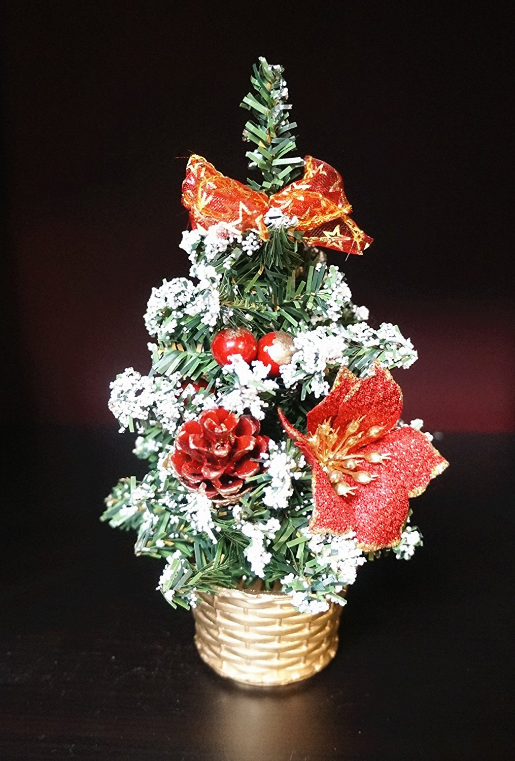sweet home deco 9 mini christmas tree table bonsai for christmas w poinsettia