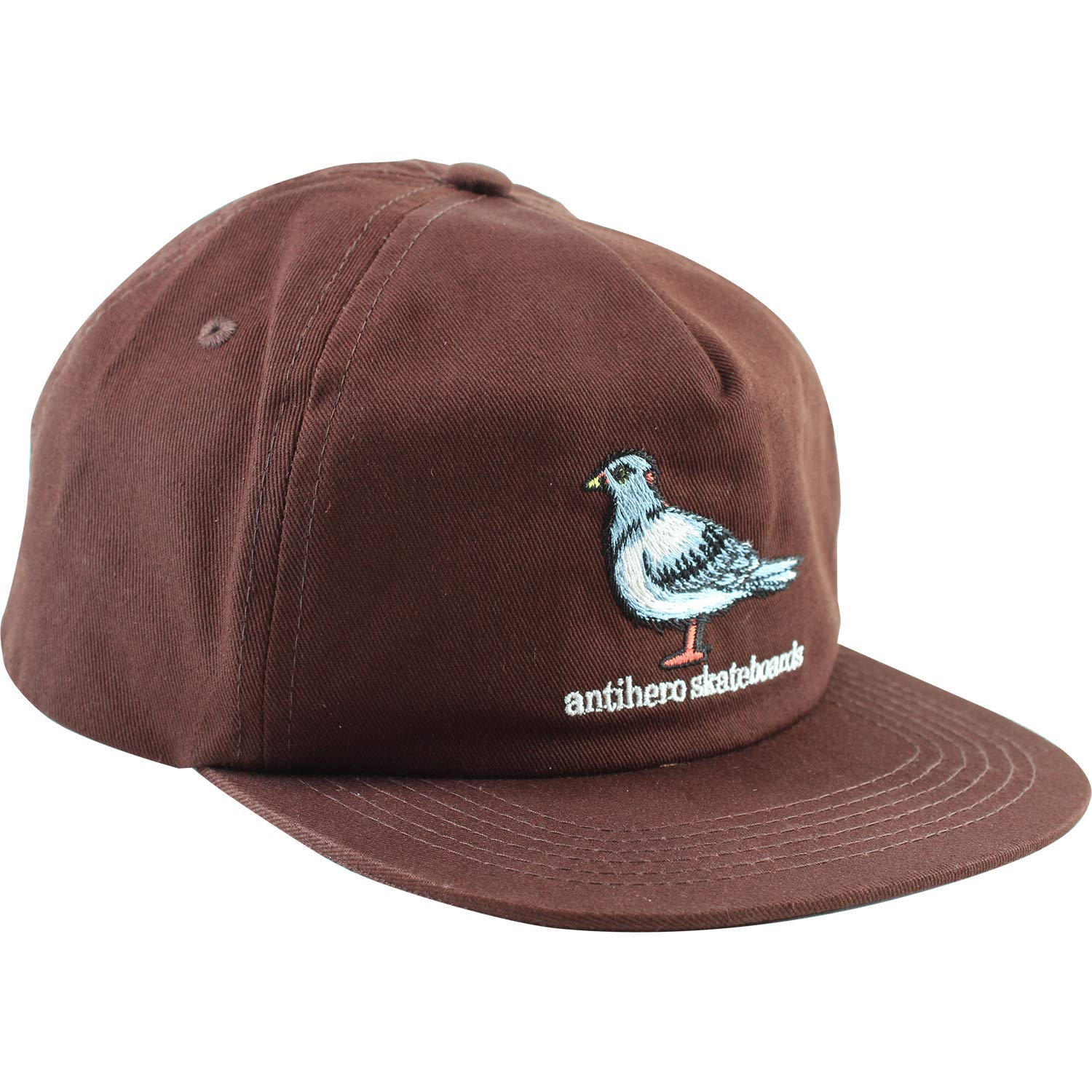 8ab165414d7 Get Quotations · Anti Hero Skateboards Pigeon Emblem Dark Brown 5 Panel Hat  - Adjustable
