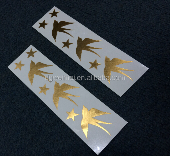 Temporary new discovering tattoo, golden swallow high quality golden tattoo, non-toxic metallic tattoo stickers