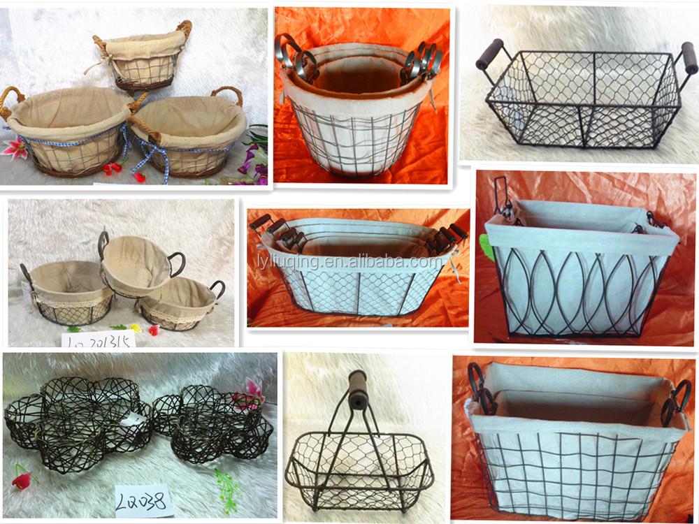 White Wicker Storage Baskets Wicker Knitting Basket Fabric Lined Storage  Basket